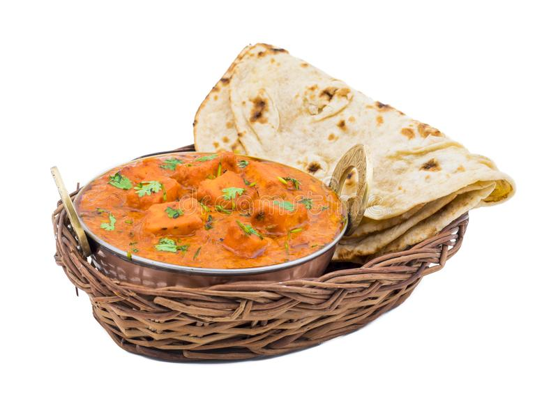 Indian Delicious Cuisine Paneer Tikka Masala. With Tandoori Chapati isolated on White Background stock image