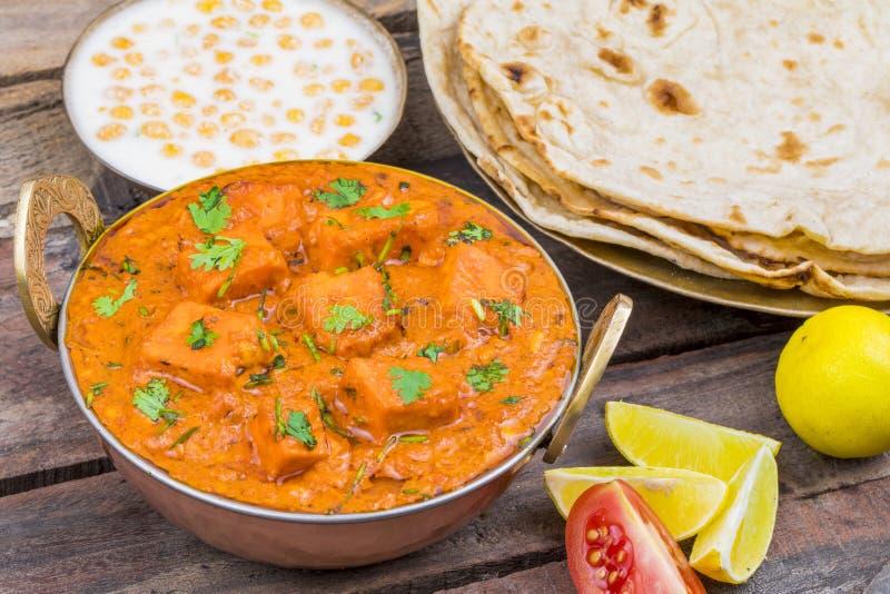 Indian Delicious Cuisine Paneer Tikka Masala. With Tandoori Chapati stock image