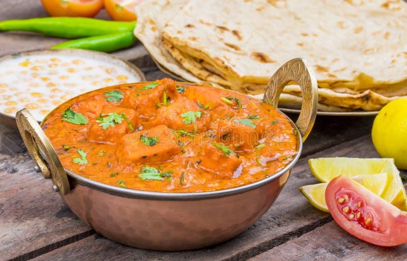 Indian Delicious Cuisine Paneer Tikka Masala. With Tandoori Chapati royalty free stock image