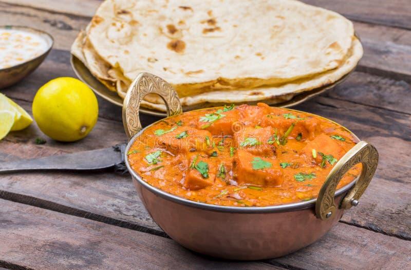 Indian Delicious Cuisine Paneer Tikka Masala. With Tandoori Chapati stock photography