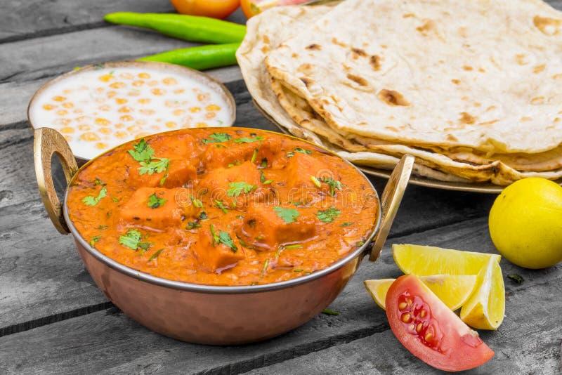 Indian Delicious Cuisine Paneer Tikka Masala With Tandoori Chapati royalty free stock photo