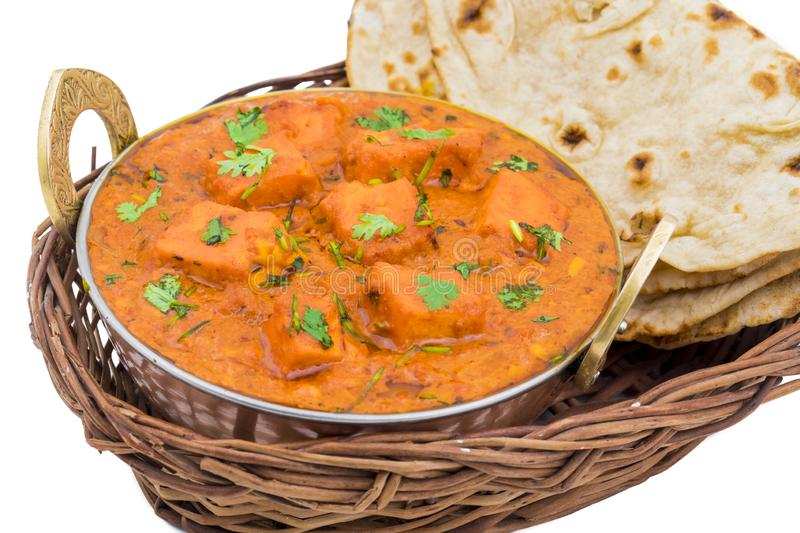 Indian Delicious Cuisine Paneer Tikka Masala. With Tandoori Chapati isolated on White Background stock images