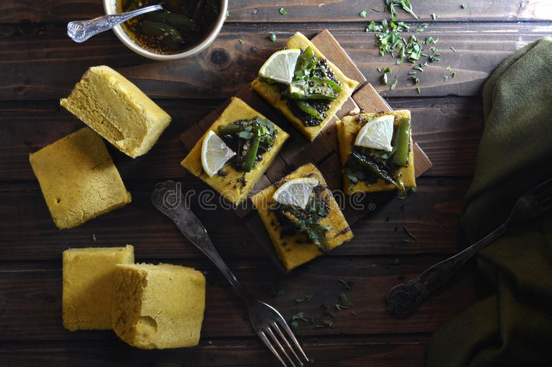 Indian Dhokla - recipe preparation photos with photos of the final dish and traditional mattha royalty free stock images