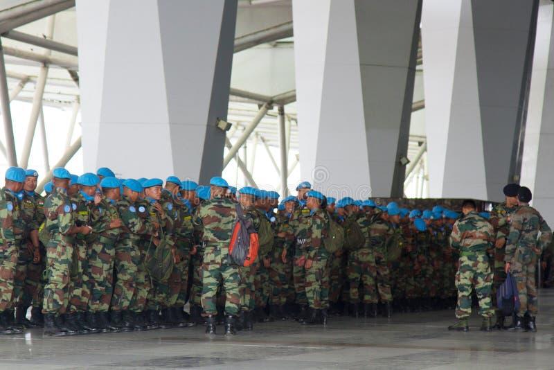 Indian disposition, soldiers (blue beret) break into column. India, new Delhi - April 7, 2018: disposition, soldiers (blue beret, airborne assault force) break stock image
