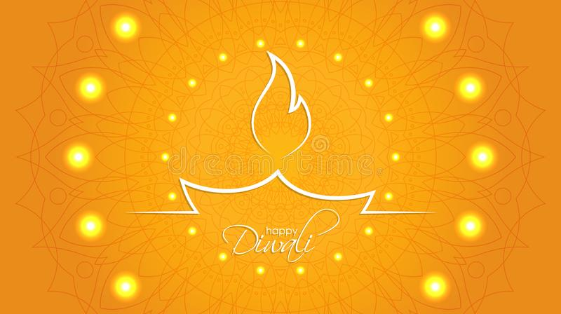 Happy Diwali abstract background with decorative pattern of ethnic round ornament. Indian diya oil lamp. The festival of lights. Happy Diwali abstract background stock illustration