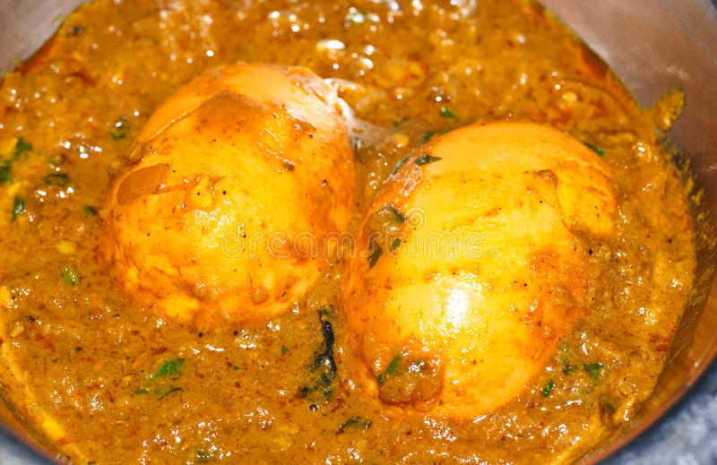 Indian egg curry. Egg curry made up of Indian spices and two boiled eggs royalty free stock photos