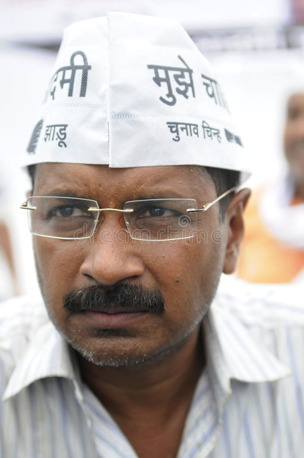 Indian Election. VARANASI - MAY 4 : AAP leader Arvind Kejriwal with a grumpy expression during an election rally on on May 4 , 2014 in Varanasi , India stock photography