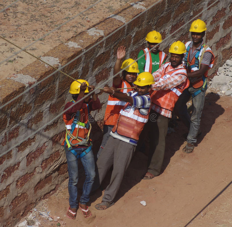 Download Indian Electricians Crew On Work Editorial Photo