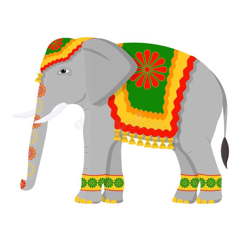 Indian elephant icon in cartoon style isolated on white background. India symbol stock vector illustration. stock illustration