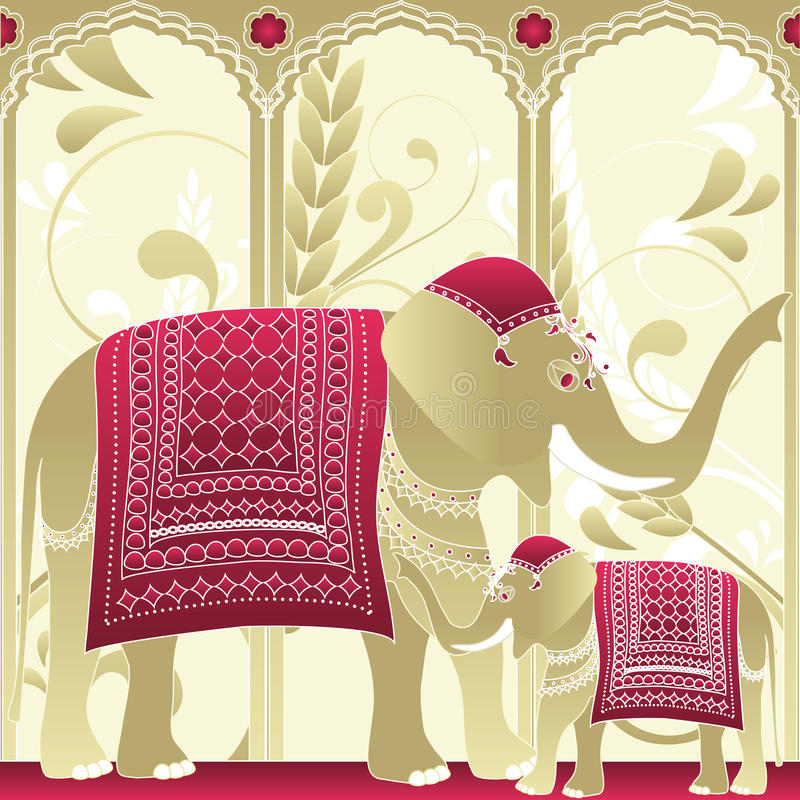 Indian Elephant, Mother and Baby vector illustration