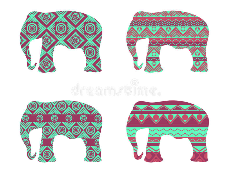 Indian elephant pattern. Contour elephant pattern. Vector illustrations. royalty free illustration