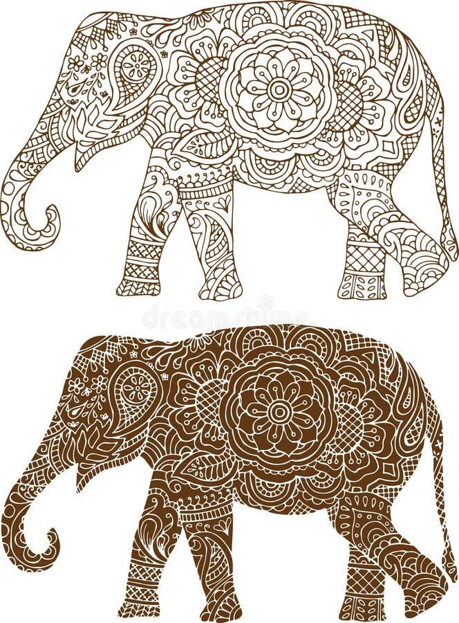 Indian elephant patterns royalty free illustration