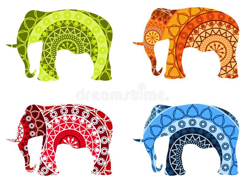 Indian elephant, tibetan mandala pattern. on white. Set of vector illustrations stock illustration
