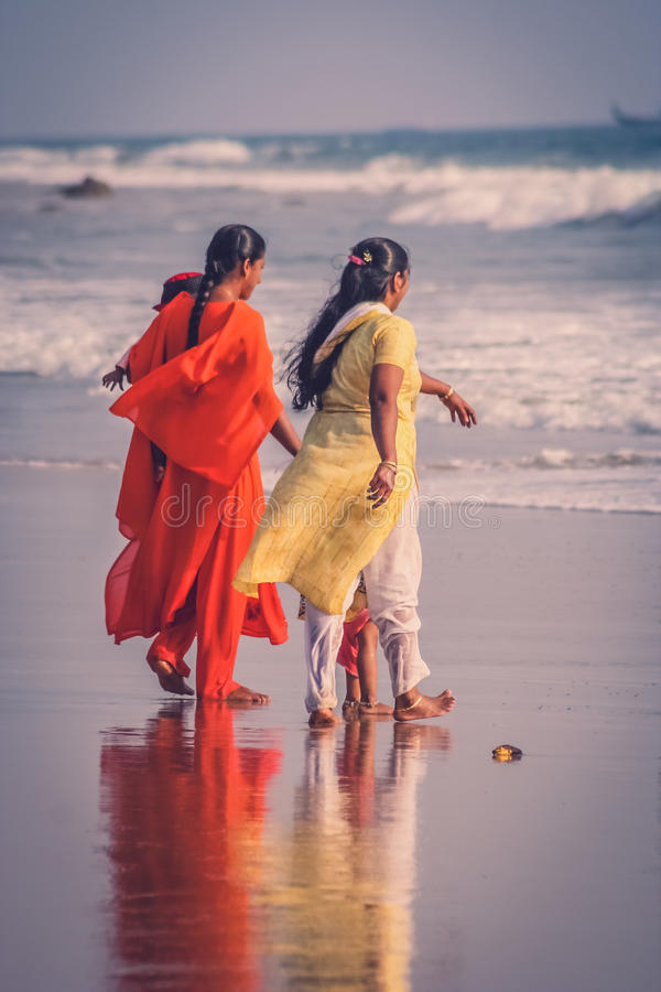 Indian families at sea royalty free stock photography
