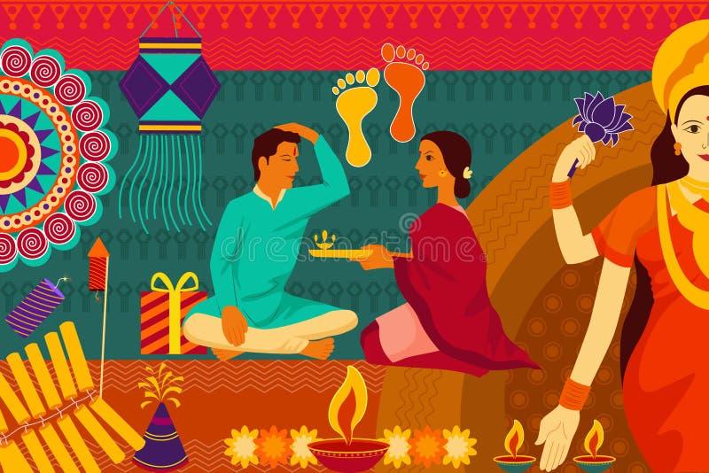 Indian family celebrating Bhai Dooj during Happy Diwali festival background kitsch art India stock illustration