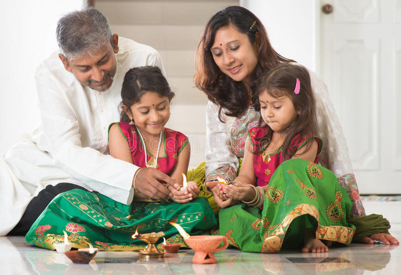 Indian family celebrating Diwali royalty free stock image