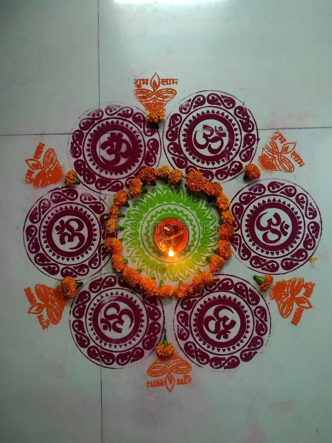 Indian famous rangoli Of diyas in diwali royalty free stock images