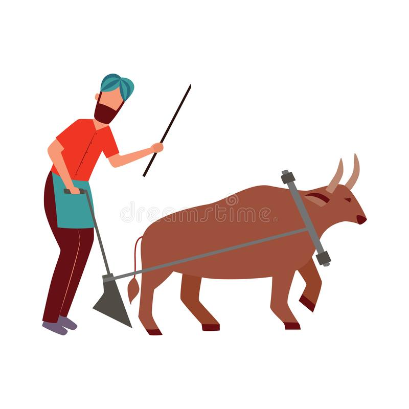 Indian farmer male with plough and cattle animal in yoke flat cartoon style vector illustration