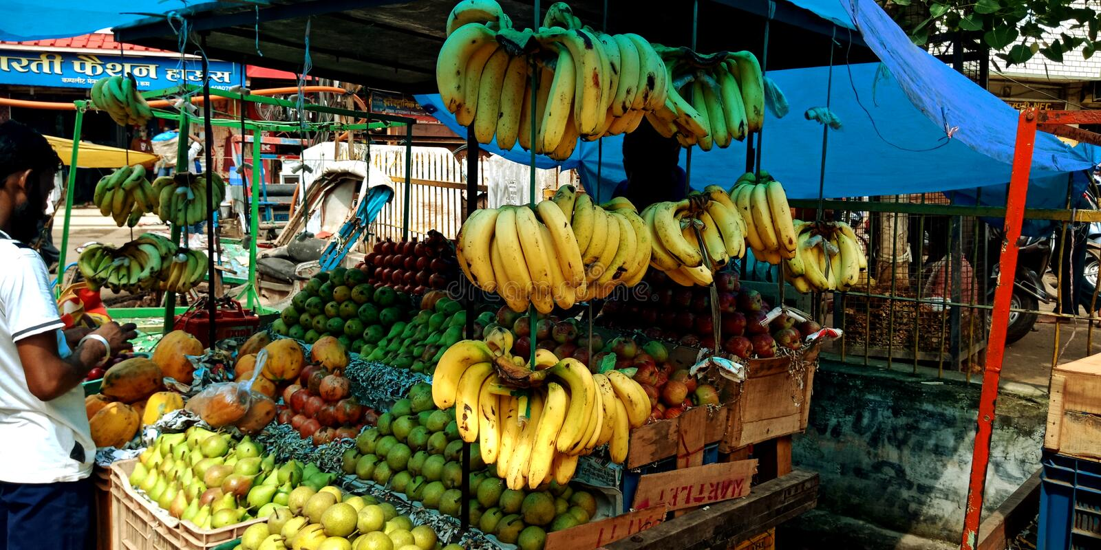 Indian farmers street fruit shop at main market royalty free stock photography