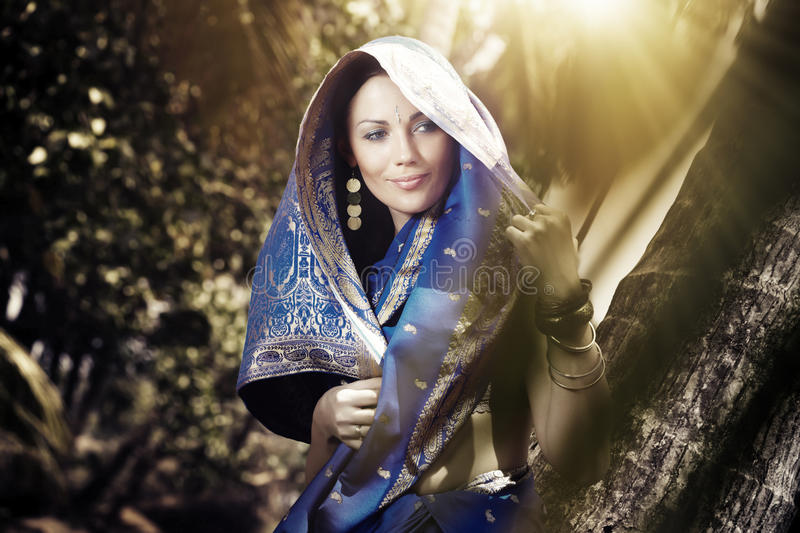 Download Indian fashion in sari stock image. Image of culture - 15807593