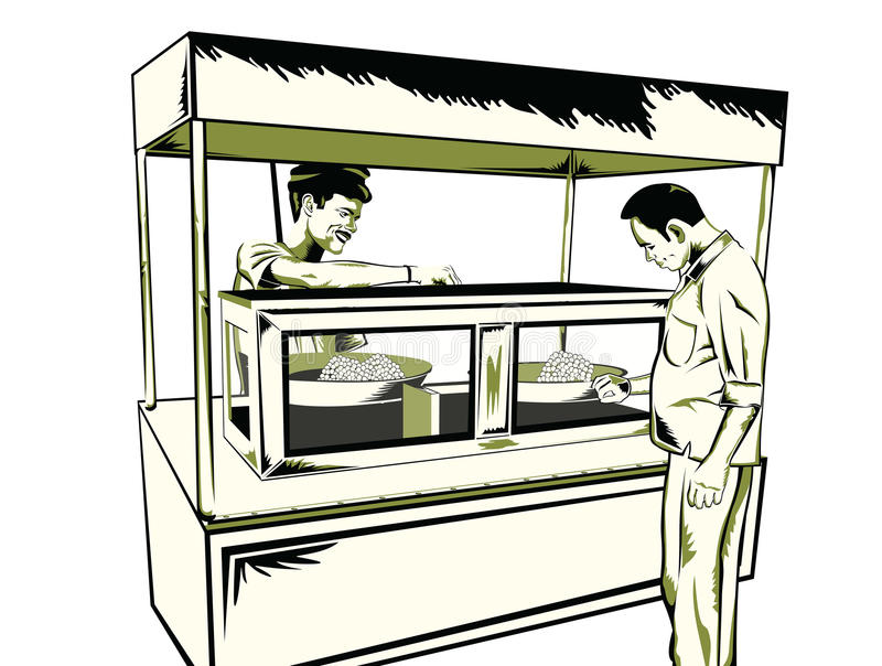 Indian fast food snack. Man having Indian snack at a food stall royalty free illustration
