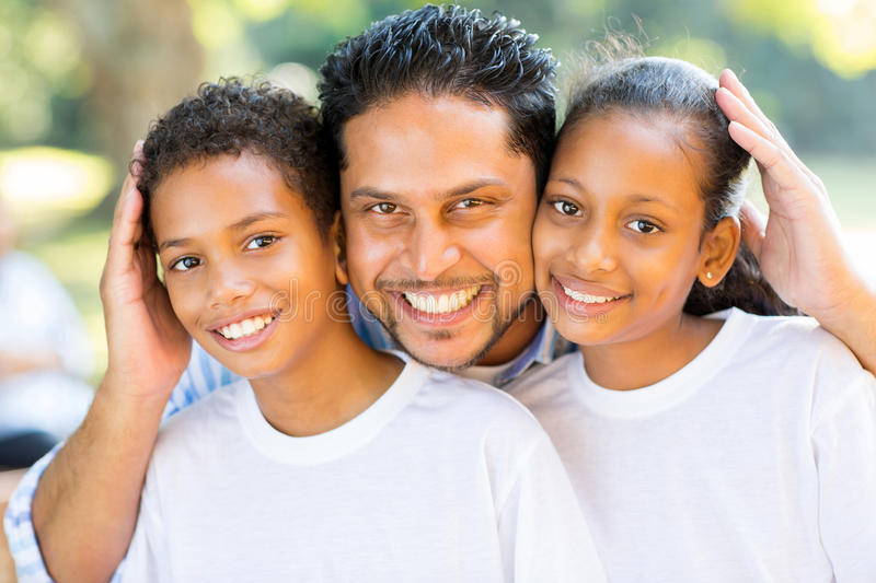 Indian father kids royalty free stock photography