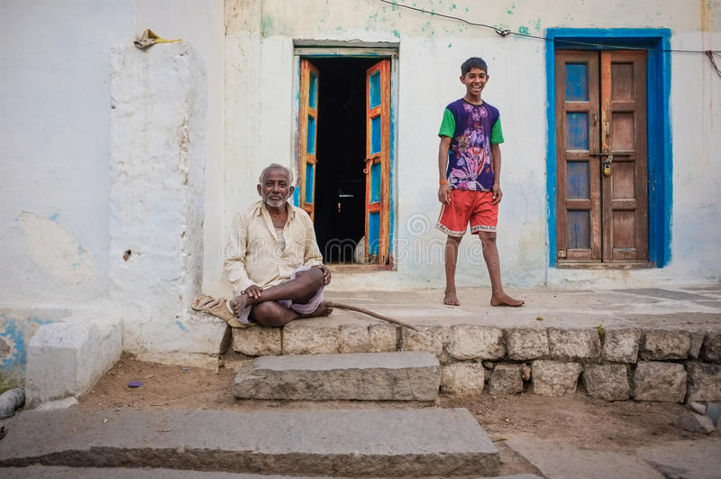 Indian father and son stock photography