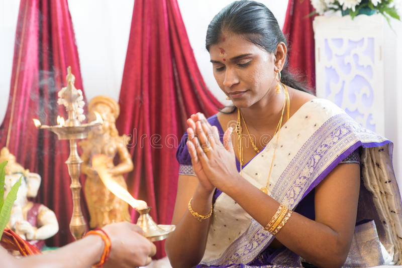 Indian female prayer royalty free stock images