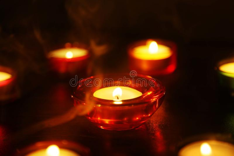 Indian festival Diwali candle lamp stock photography