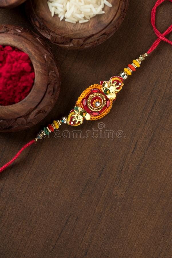 Indian festival: Raksha Bandhan.A traditional Indian wristband which is a symbol of love between Brothers and Sisters. royalty free stock images