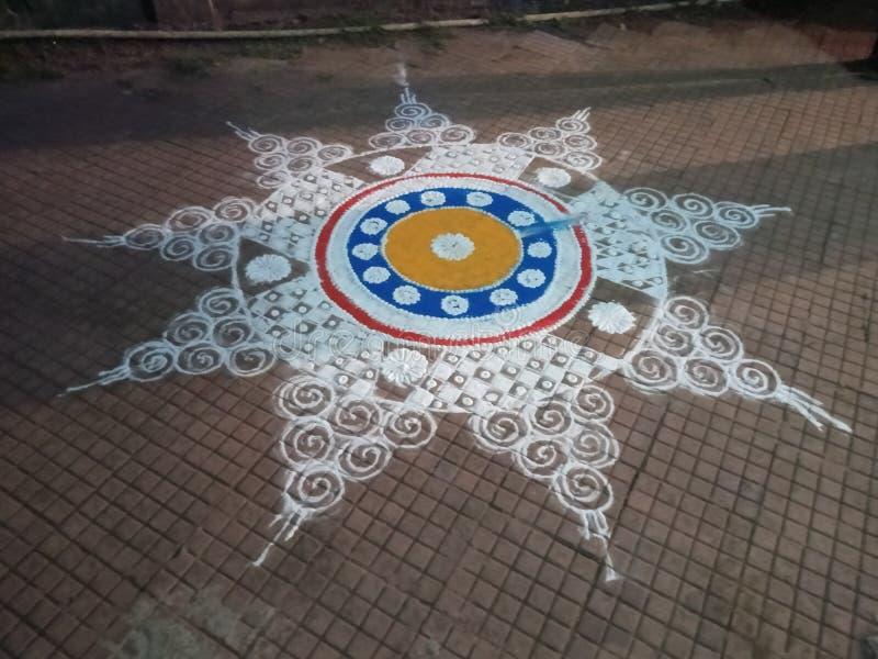 Indian  festival tradition of rangoli arts stock photo