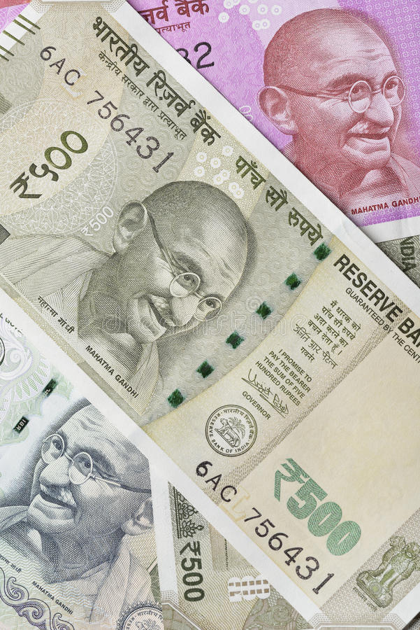 Indian Five Hundred Rupee Note with Mahatma Gandhi Portrait. High Resolution Macro Shot of Indian Rupees Five Hundred- 500. This note or Paper Currency has the royalty free stock photo