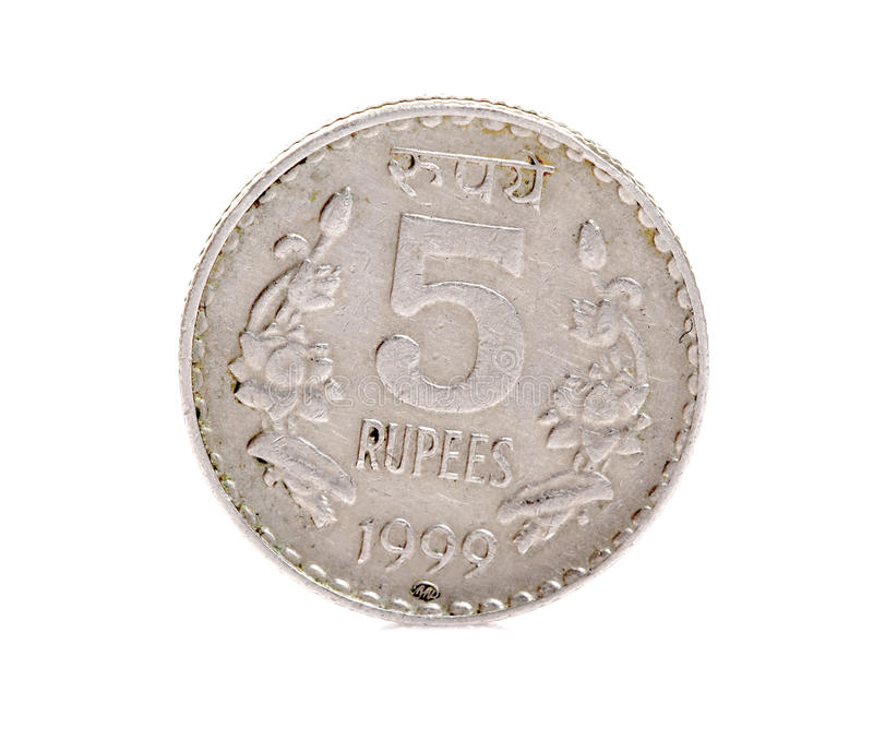 Indian five rupees coin. Isolated on white background stock photography