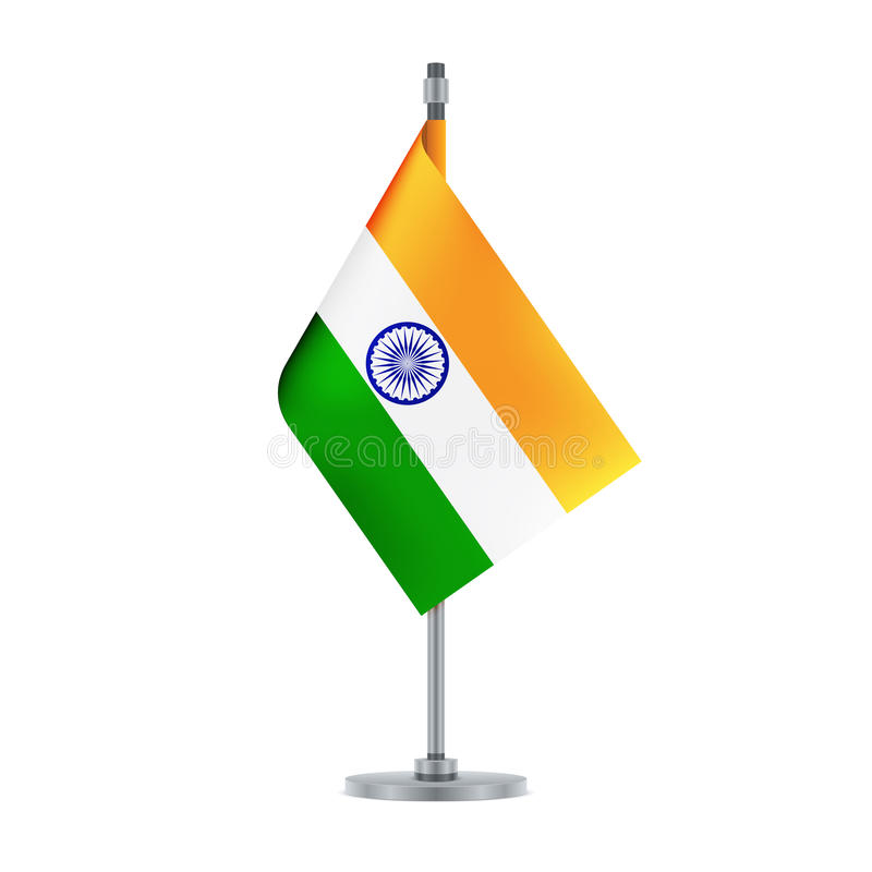 Indian Flag Hanging On The Metallic Pole, Illustration Stock Vector ...