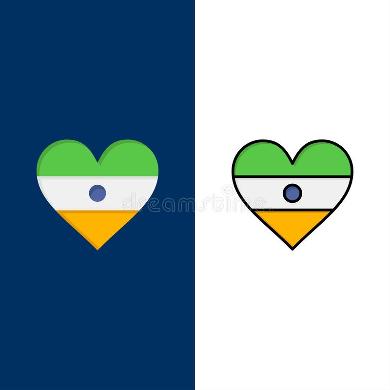 Indian, Flag, Heart, Heart flag  Icons. Flat and Line Filled Icon Set Vector Blue Background vector illustration