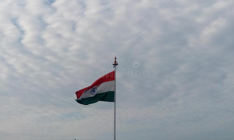 Indian Flag of India captured at Chennai airport. Picture of India country flag in a flagpole in front of chennai international airport as an integrity freedom royalty free stock photography