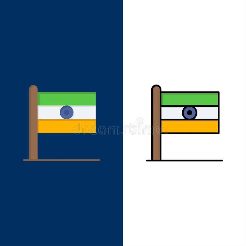 Indian, Flag, Sign, Day  Icons. Flat and Line Filled Icon Set Vector Blue Background royalty free illustration
