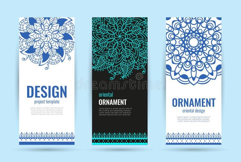 Indian floral medallion banners. Mandala ornament design. Henna tattoo style. stock illustration