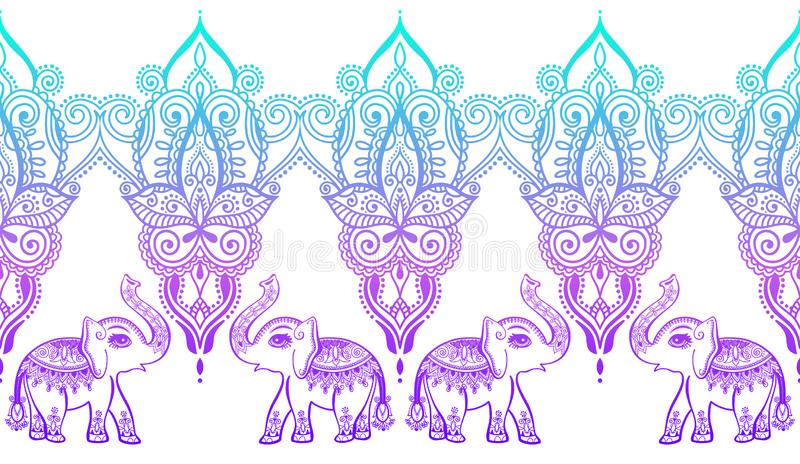 Indian floral pattern with elephant, henna mehndi tattoo design. Vector illustration royalty free illustration