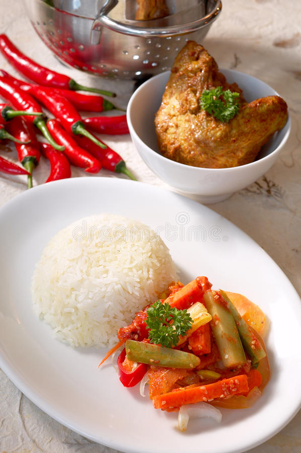 Indian food. Including chili recipe stock photography