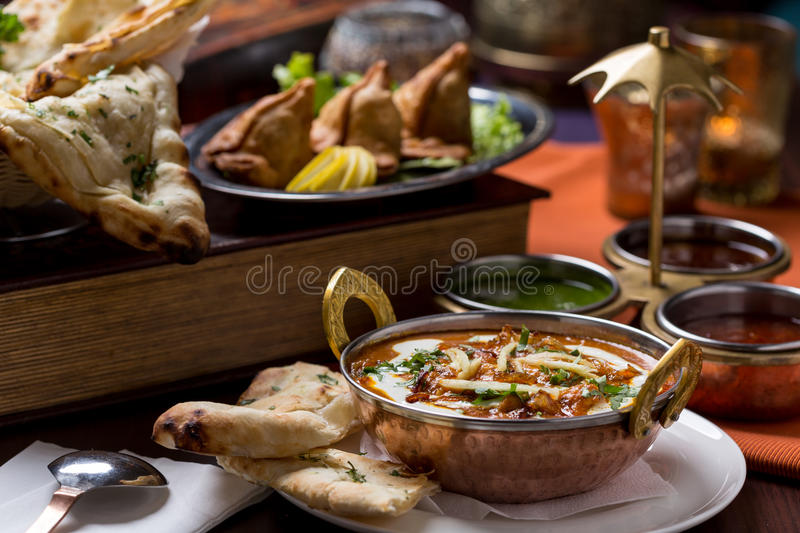 Indian food. In brass bowl stock image