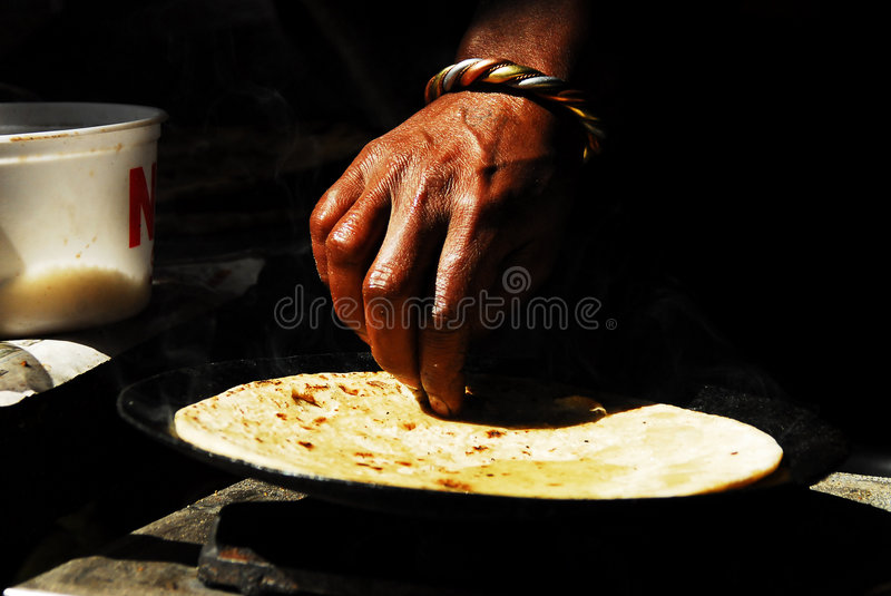 Indian food. The making of chapatti, a traditional indian food stock photos
