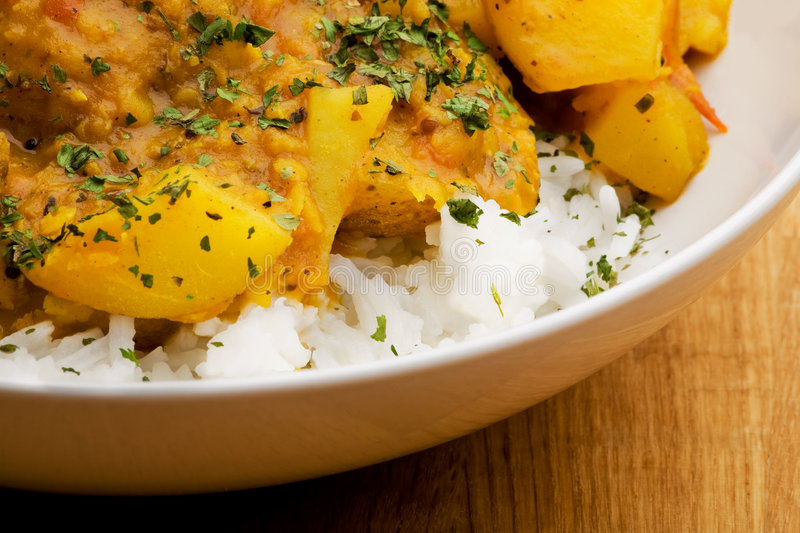Indian Food. Macro - potato curry with lentils stock image