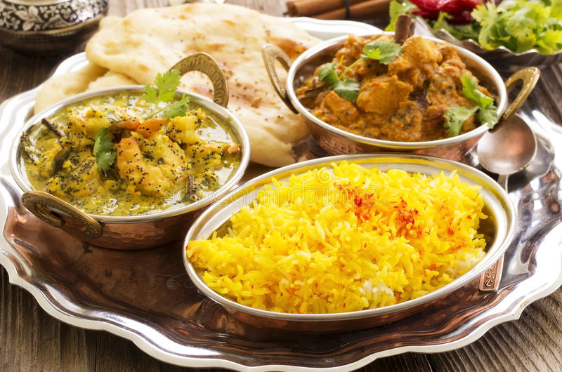 Indian Food. As closeup on a silver tray stock photos