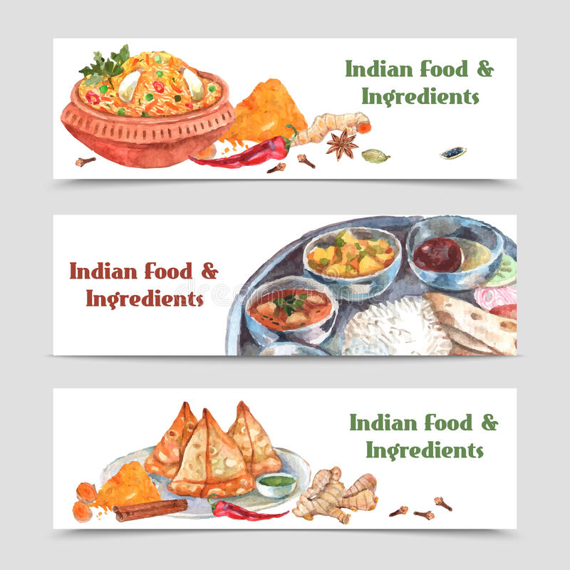 Indian Food Banners Set. Indian food watercolor horizontal banners set with spices rice and ingredients isolated vector illustration stock illustration