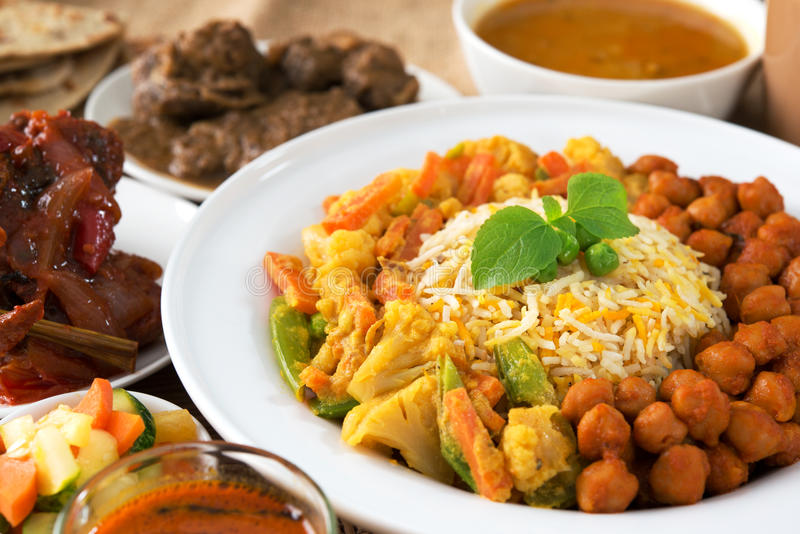 Indian food. Biryani rice and curry stock images
