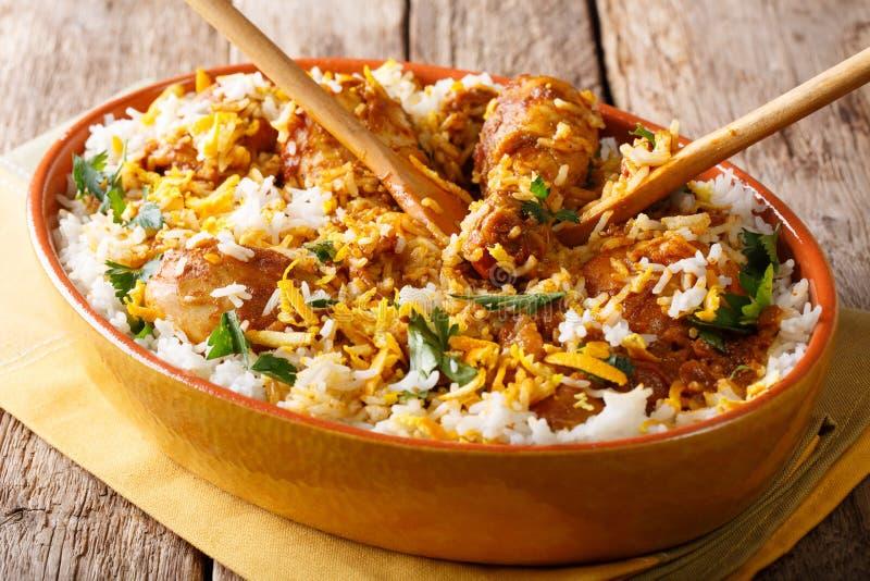 Indian food: chicken dum biryani close-up in a dish. horizontal royalty free stock photos