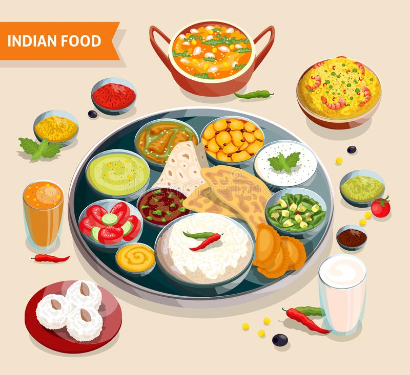 Indian Food Composition. Of dishes with seafood beans verdure and sauces also beverages and sweets vector illustration royalty free illustration
