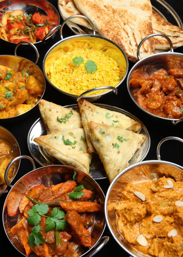 Indian Food Curry Banquet stock image