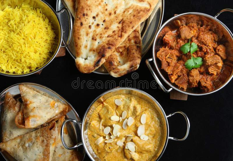 Indian Food Curry Meal Dishes stock images